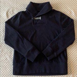 Navy blue shawl collar pullover sweatshirt